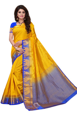 16to60trendz Yellow and Blue Tusar Silk Handloom Art Work Kanjivaram saree $ SVT00010