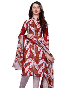 Minu Suits Red Cotton Salwar Suits Sets Dress Material Freesize,Redbeauty16_16003