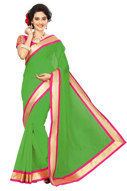 16to60trendz Green Chanderi Lace Work Chanderi Saree $ SVT00078