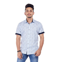 EVOQ White Printed Shirt With Contrasting Collar Band And Sleeve Band-Scratch Attack - Blue_Wite