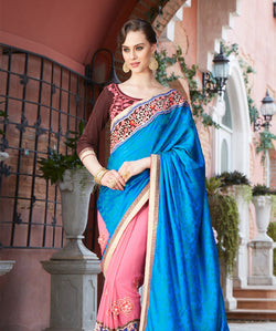 Fashion FizaBlue Georgette and Jecard EMBROIDERY Saree with blause pice