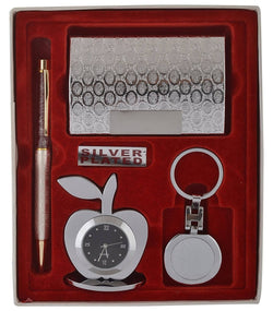 International Gift Silver Plated Ball Pen And Silver Plated Visiting Card Holder And Silver Plated Apple Shape Clock And Silver Plated Key Ring (Silver, Pack of 4) Office Set For Diwali And Corporate Gift $ SOS-106-1
