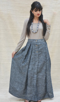 Grey Ankle Length Pleated Skirt $ IWK-000258