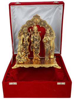 Gold Plated Ram Darbar Hanuman Sita Laxman God Idol with Beautilful Velvet Box Packing (29 cm x 22.5 cm x 14.5 cm, Gold) $ IGSPBR1090