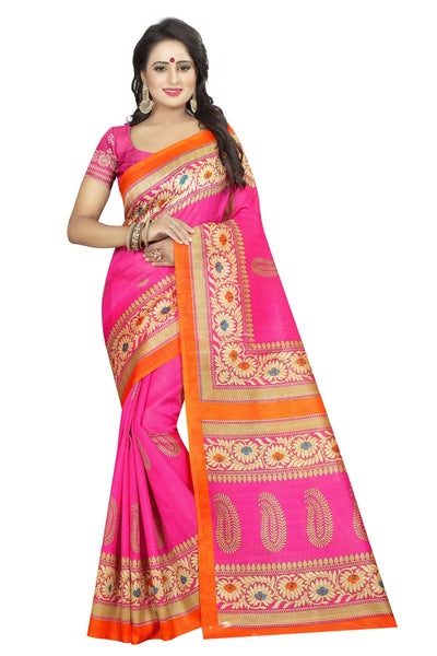 16TO60TRENDZ Pink Color Printed Bhagalpuri Silk Saree $ SVT00491