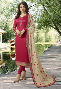 YOYO Fashion Pink Georgette Straight Semi-Stitched Salwar Suit With Dupatta $ F1280