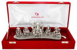 International Gift Aluminium Musical Ganesha God Idol (28 cm x 6 cm x 10 cm, Silver) $ GSI-151