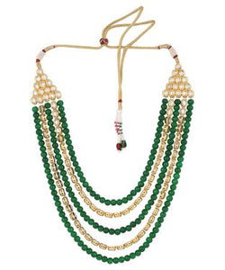 Aradhya Brass Jewel Set (Green, Gold)