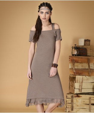 Free Esprit Short Dress With Inner And Necklace