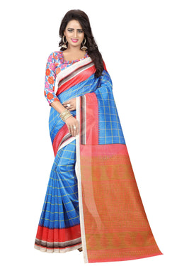 16TO60TRENDZ Blue Color Printed Bhagalpuri Silk Saree $ SVT00501