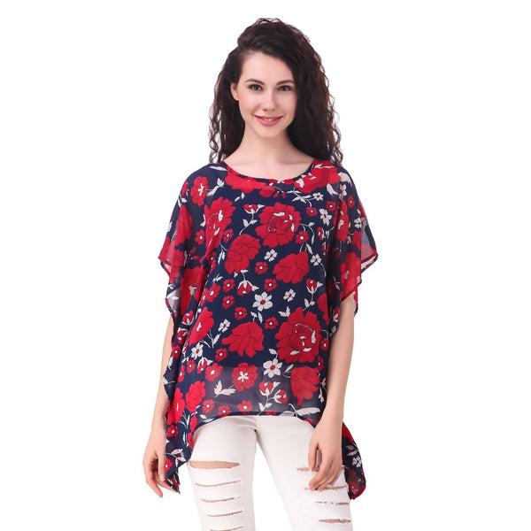 Fame 16 Printed Women'S Round Neck Navy Georgette Flared Floral Printed Kaftans $ F16-1600181