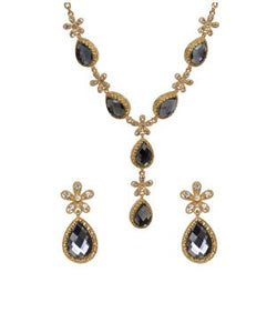 Bauble burst gold and grey necklace with earrings