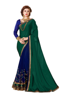 Muta Fashions Women's Unstitched Georgette Blue Saree $ MUTA1421