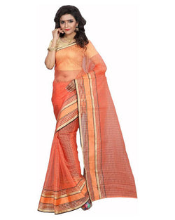 Muta Fashions Women's Unstitched Cotton Net Orange Saree $ MUTA1583