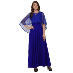 LONG GEORGETTE DRESS WITH NET PONCHU $ GB0009