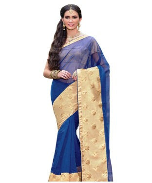 royal blue supernet & chanderi patch work designer saree