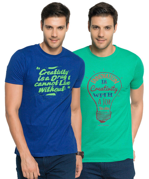 Zorchee Mens Round Neck Half Sleeve Cotton Printed T-Shirts (Pack of 2) - Royal Blue & Tropical Green_ZO-10-11