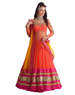 Muta Fashions Women's Semi Stitched Net Red Lehenga $ LEHENGA39
