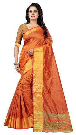 YOYO Fashion Latest Fancy Kota Dhupian Orange Saree  $ SARI2581 Orange