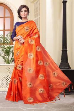 YOYO Fashion New Latest Joya silk Orange Embroidered Saree With Blouse $YOYO-SS-SARI2647