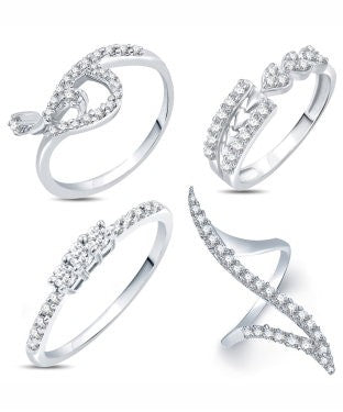 Sukkhi Valentine Collection Modish Rhodium Plated CZ Combo With Rose Box For Women Pack Of 4