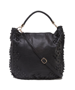 Fiona Trends Black PU Shoulder Bag,6006_BLACK