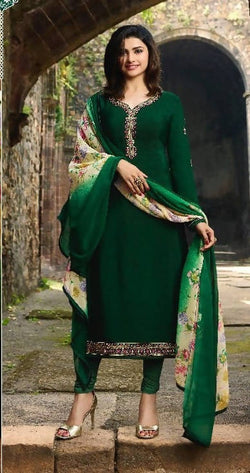 YOYO Fashion Green Crepe Straight Semi-Stitched Salwar Suit With Dupatta $ F1288