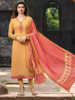 YOYO Fashion Yellow Crepe Straight Semi-Stitched Salwar Suit With Dupatta $ F1287