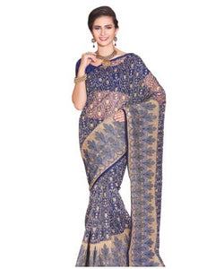 Navy blue embroiderd supernet saree