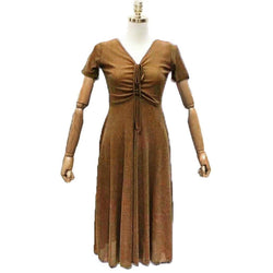 Fashion Tiara Brown One Piece Dress with Lining Fits For M/L/XL $ FTD31