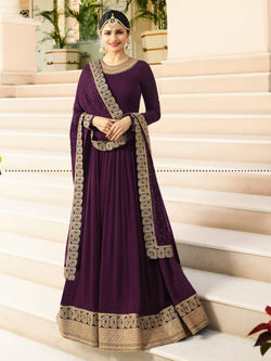 YOYO Fashion Latest Fancy Semi-stitched Faux Georgette Embroidered Anarkali Salwar Suit $F1215-Purple