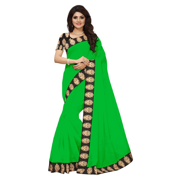 16to60trendz Green Chanderi Lace Work Chanderi Saree $ SVT00174