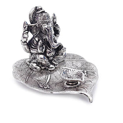 International Gift Silver Plated Leaf Ganesh God Idol Murti with Beautiful Velvet Box Packing Exclusive Gift for Diwali Gift Items and Wedding Gift Items $ GSI-112