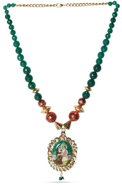 Radha Krishna Emerald Necklace - JMRJNEC9200
