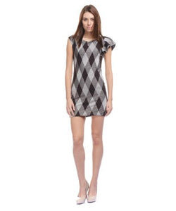 ALLISON TAYLOR Choco Brown and Silver SHORT DRESS