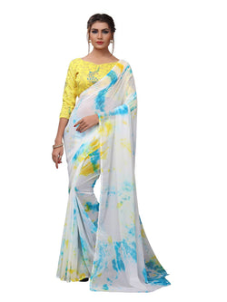YOYO Fashion Printed Georgette Yellow Saree With Blouse $YOYO-SARI2619-Yellow