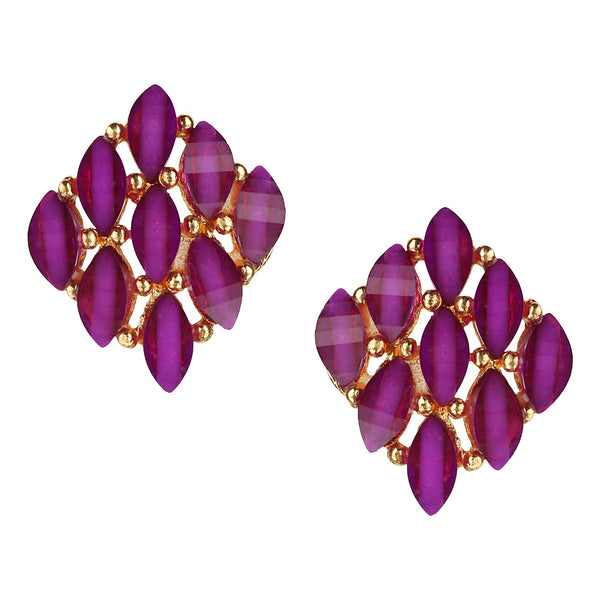 Parna Trendy Purple Crystal Diamond Alloy Gold Plated Stud Earring $ EAR-183