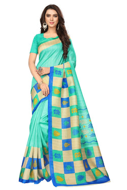 16TO60TRENDZ Green Color Printed Bhagalpuri Silk Saree $ SVT00447