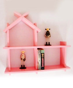 THE NEW LOOK Hut Shape Pink Wooden Wall Shelf-100000813540