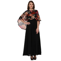 LONG GEORGETTE DRESS WITH FLORAL PONCHU $ GB0007