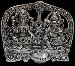 Silver Plated Laxmi Ganesh God Idol with Velvet Box Packing (18 cm, Silver) $ GSI-147-2