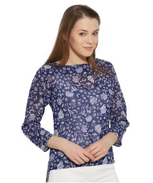 VIRO 3/4th Sleeves Boat Neck Georgette fabric Blue TOP