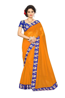 16to60trendz Mustard Chanderi Lace Work Chanderi Saree $ SVT00245