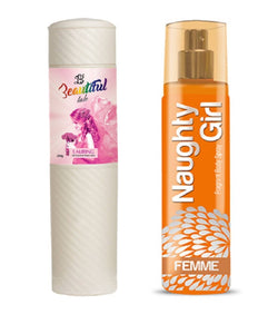 BEAUTIFUL TALC 250gm LAURING & Naughty Girl FEMME 135 ml (Set of 2 for Women)