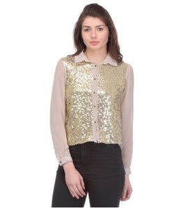 Glam a gal stone grey and gold f/s shirt