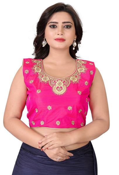 YOYO Fashion Pink Silk Embriodered Extra Sleeve With Blouse $ YOYO1-BL4004