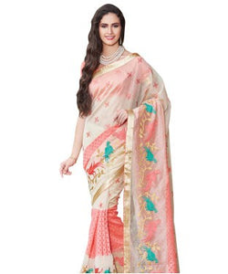 Cream-pink figure embroidered supernet saree