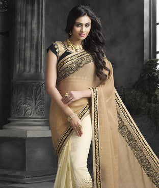 Faux Chiffon and Net Saree with Blouse