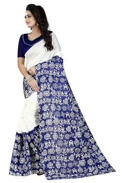 16TO60TRENDZ Blue Color Printed Bhagalpuri Silk Saree $ SVT00507