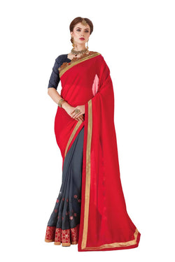 Muta Fashions Women's Unstitched Georgette Red Saree $ MUTA1420